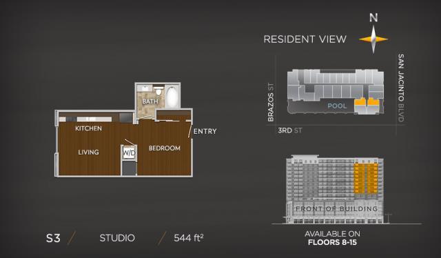 544 sq. ft. S3a floor plan