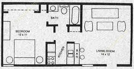 504 sq. ft. A2M floor plan