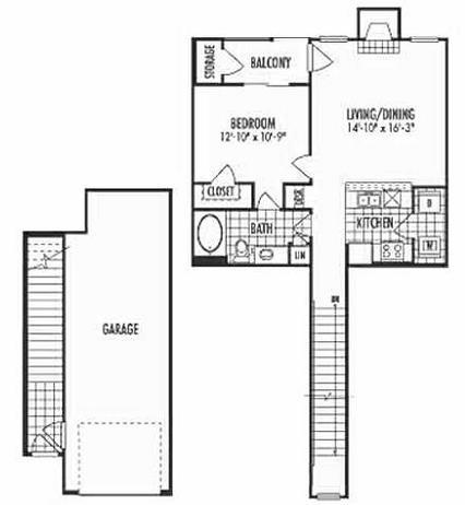 808 sq. ft. A2 floor plan