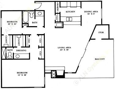 1,250 sq. ft. B5 floor plan