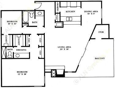 1,250 sq. ft. B5 floor plan