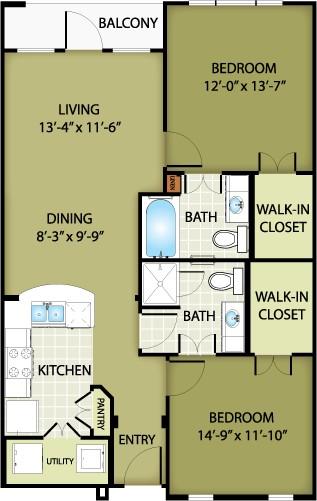 952 sq. ft. GIORGIO floor plan