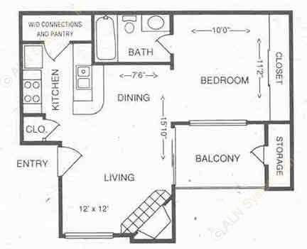 504 sq. ft. 1A floor plan