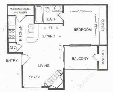 504 sq. ft. 1A floor plan
