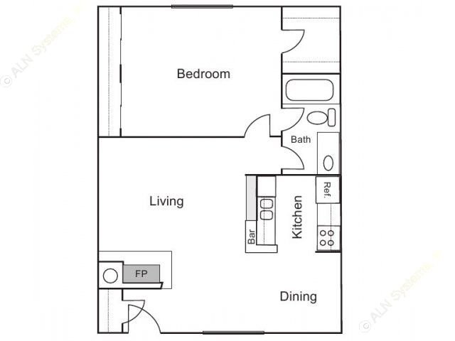 770 sq. ft. A-1 floor plan