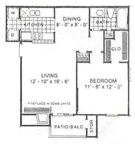 657 sq. ft. Evergreen floor plan