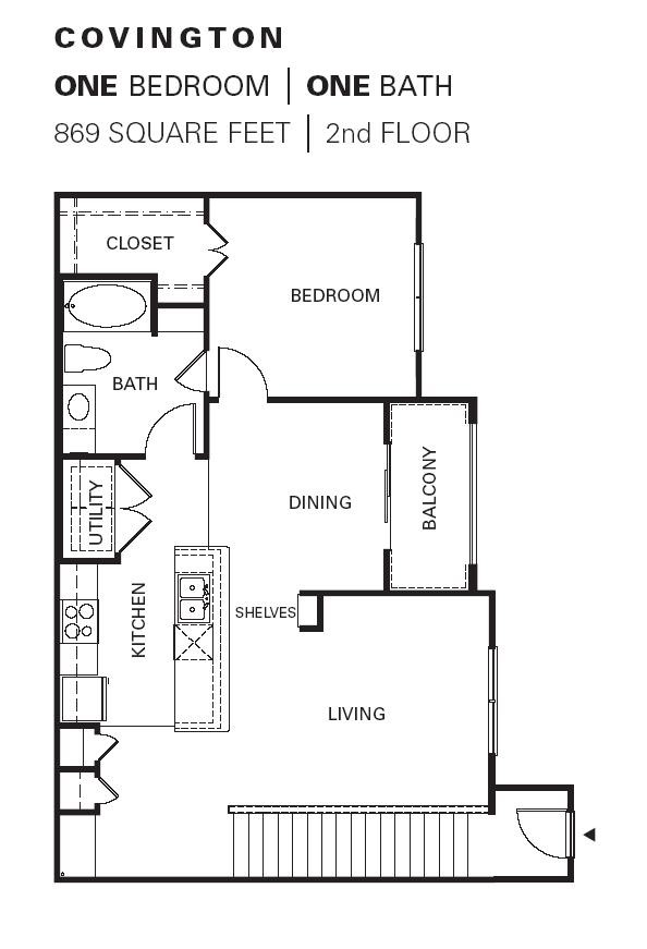 869 sq. ft. COVINGTON floor plan