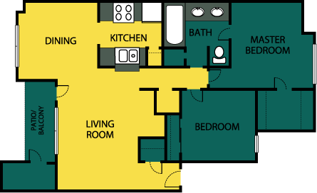 890 sq. ft. Lavish floor plan