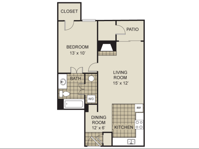 616 sq. ft. A9-C floor plan