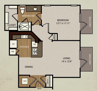 661 sq. ft. A2 floor plan