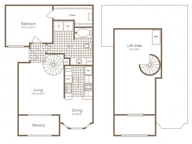 862 sq. ft. MITCHELL floor plan