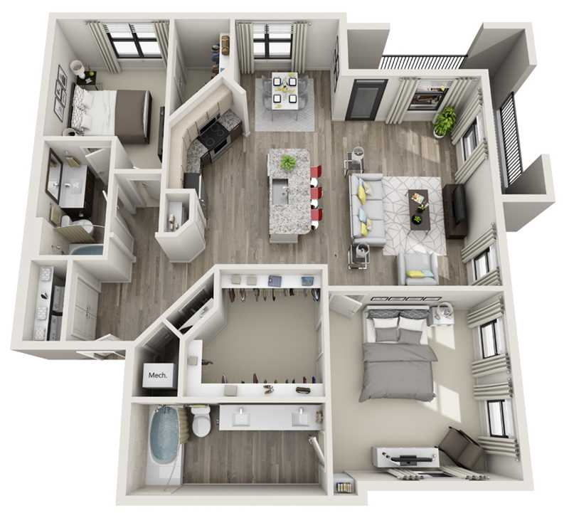 1,270 sq. ft. to 1,396 sq. ft. B3 floor plan