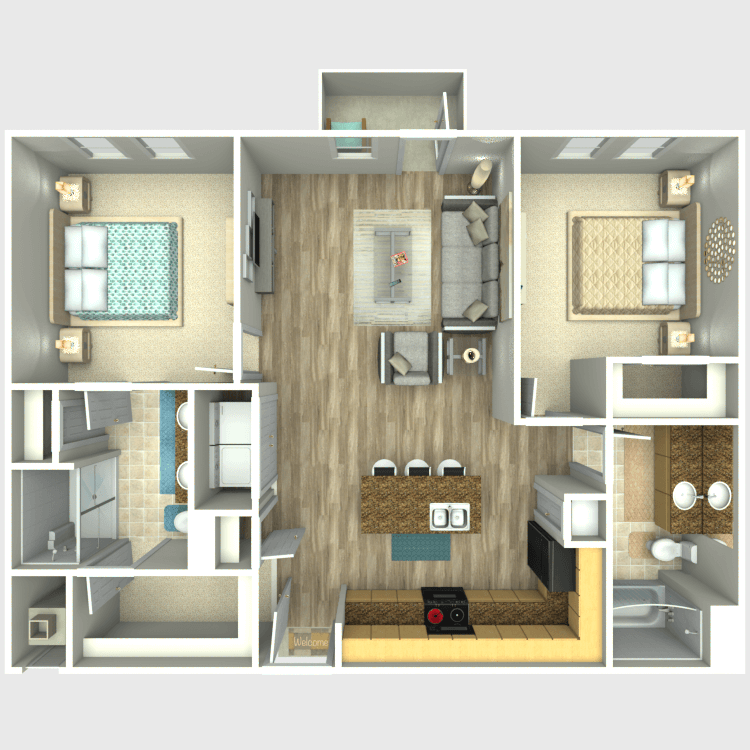 1,064 sq. ft. B2 floor plan