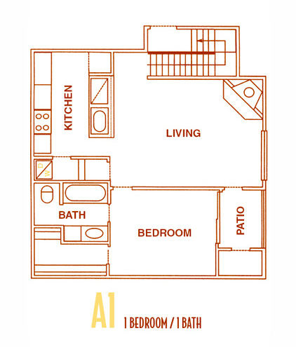 600 sq. ft. A1 - A1U floor plan