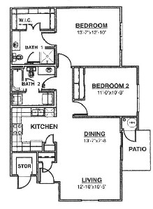 1,010 sq. ft. Ph II Mkt floor plan