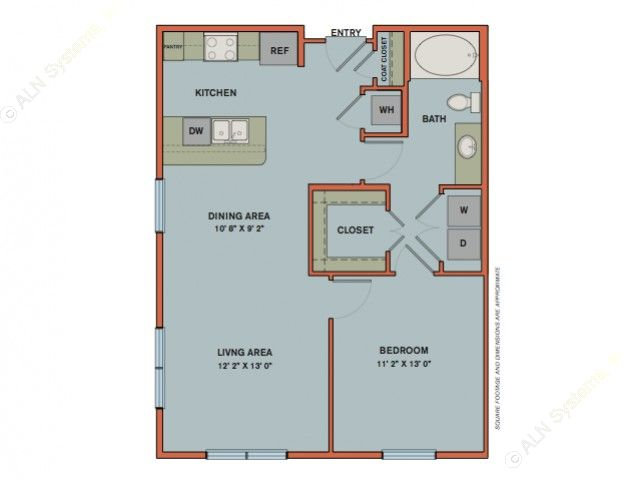 779 sq. ft. A2.2 floor plan