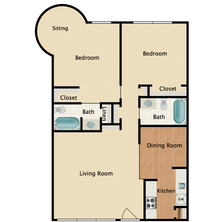 1,059 sq. ft. B3 floor plan