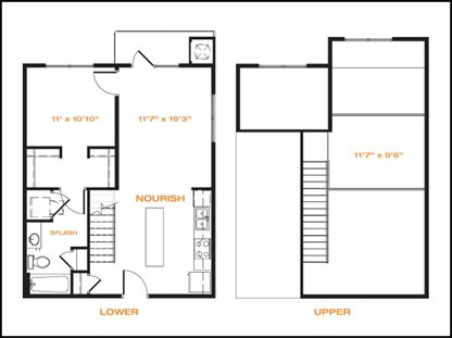 894 sq. ft. floor plan