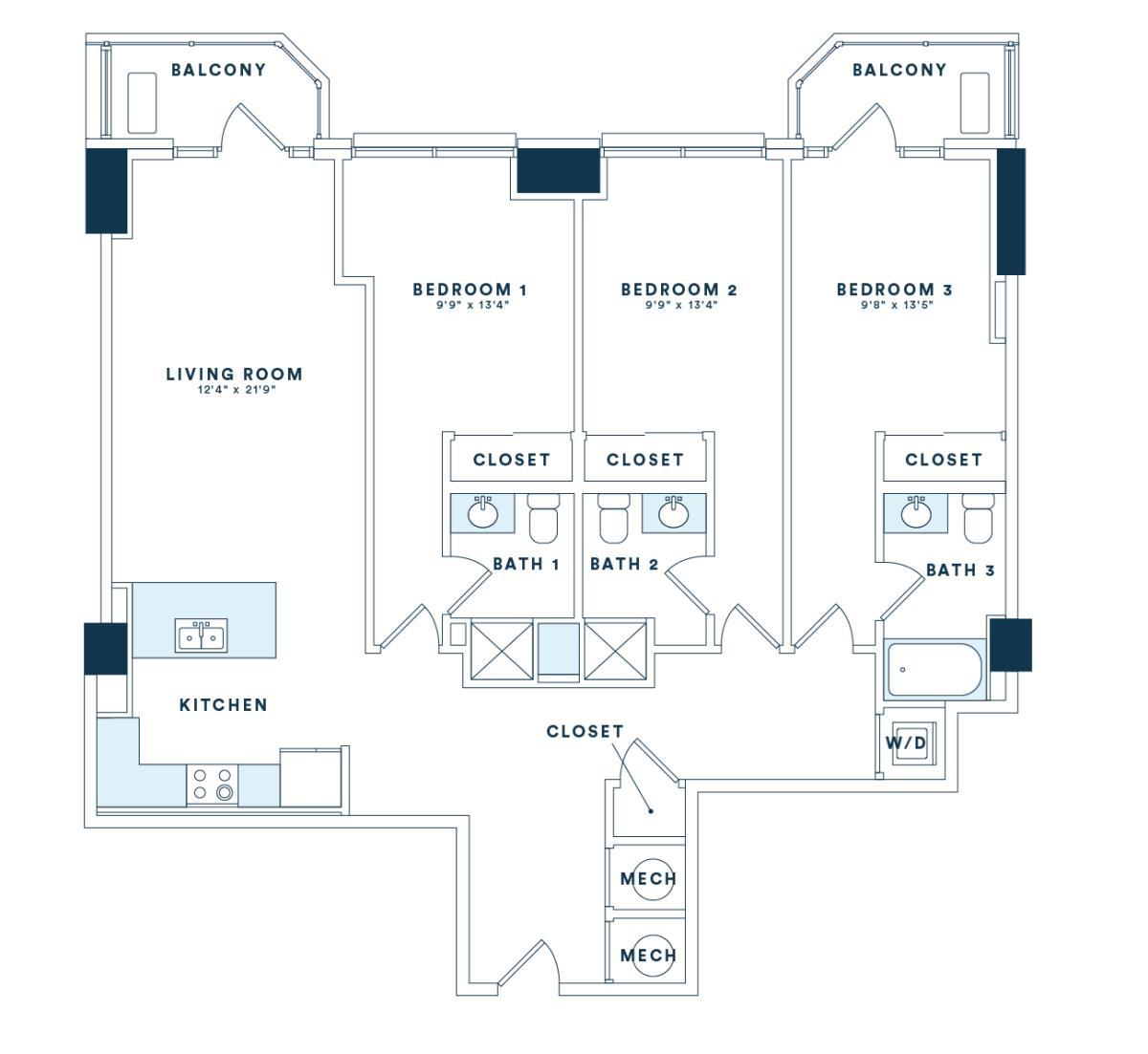 1,505 sq. ft. C5 floor plan