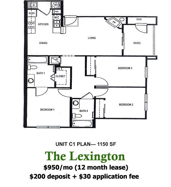 1,150 sq. ft. LEXINGTON floor plan