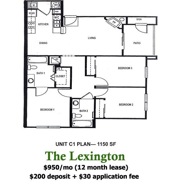 1,150 sq. ft. Lexington floor plan