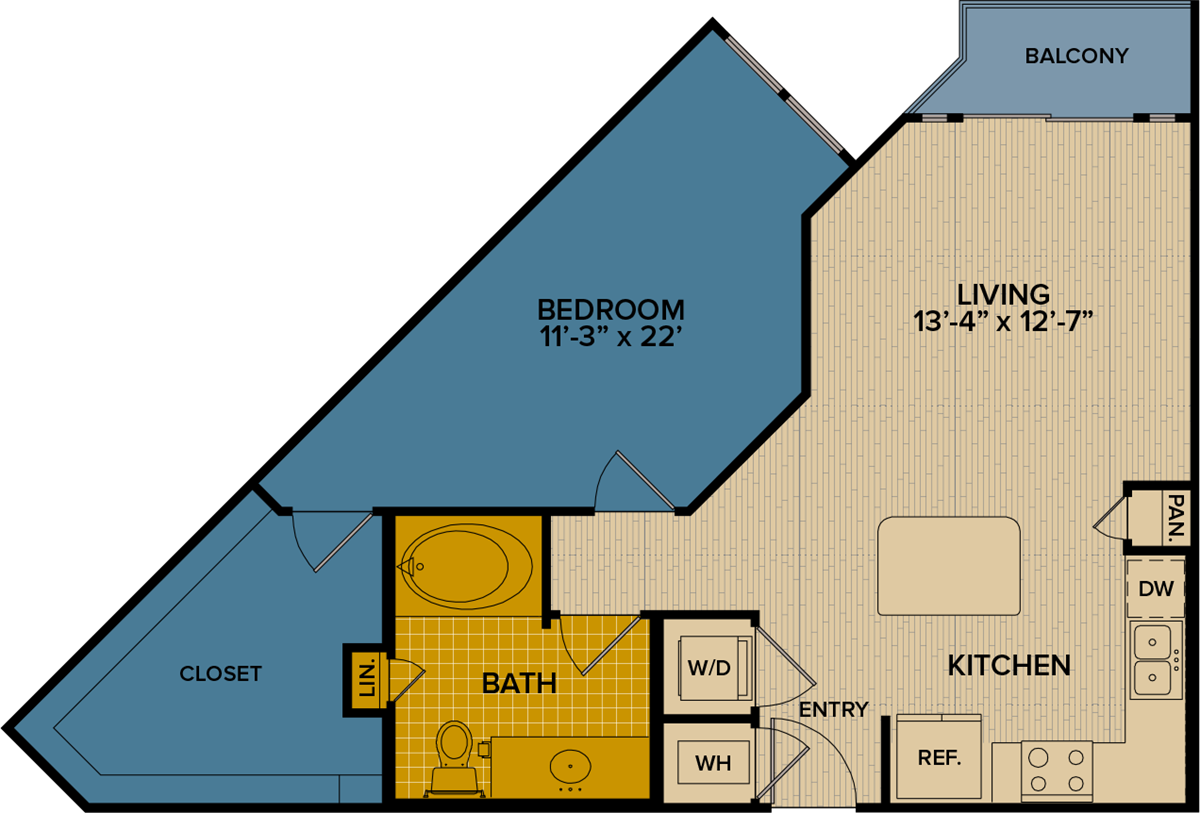 804 sq. ft. A6 floor plan