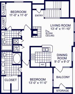 1,074 sq. ft. D floor plan