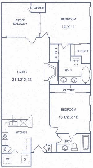 1,006 sq. ft. EP floor plan