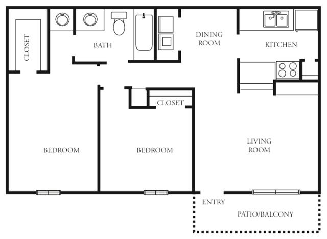 880 sq. ft. to 905 sq. ft. E floor plan