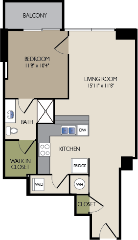 723 sq. ft. E1 floor plan