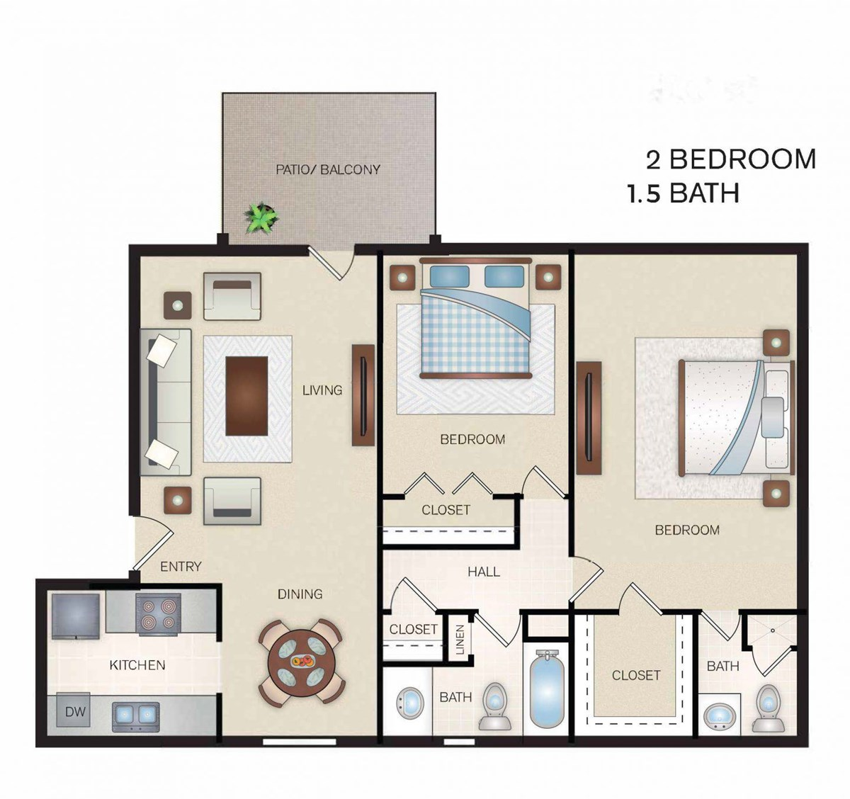 969 sq. ft. floor plan