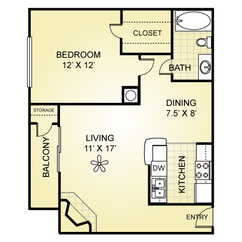 724 sq. ft. A-4 floor plan