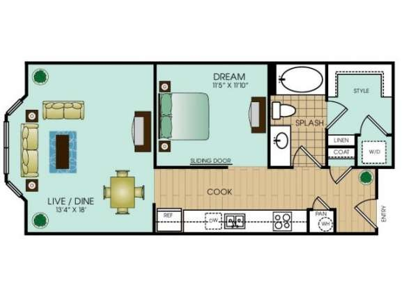 679 sq. ft. to 697 sq. ft. Studio 3/4 floor plan