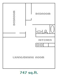 747 sq. ft. floor plan