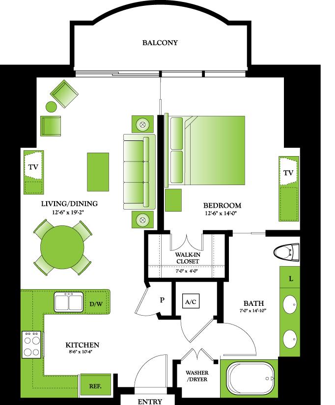 808 sq. ft. Azalea floor plan