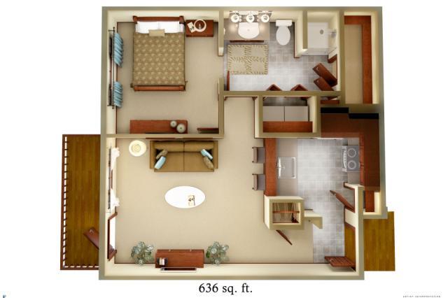 636 sq. ft. A1 floor plan