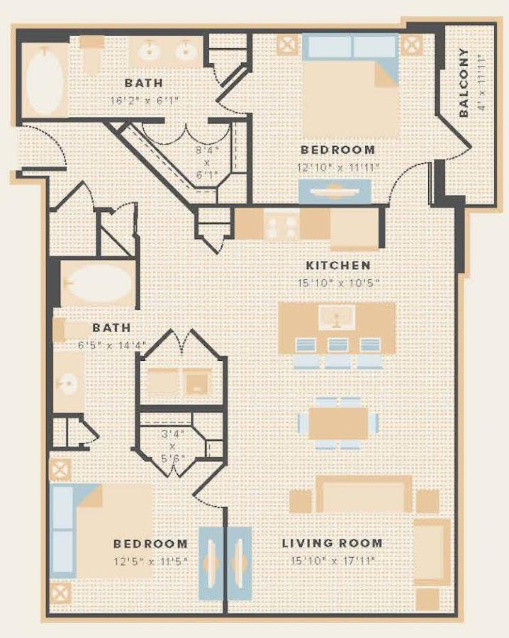 1,148 sq. ft. B3 floor plan