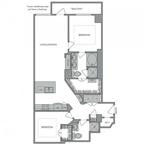 1,201 sq. ft. K floor plan