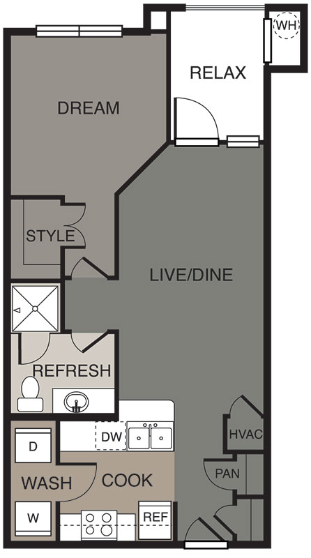 634 sq. ft. Decker floor plan
