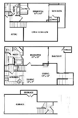 1,057 sq. ft. B1 floor plan