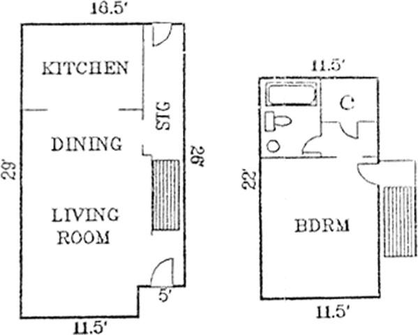 667 sq. ft. Rivanna floor plan