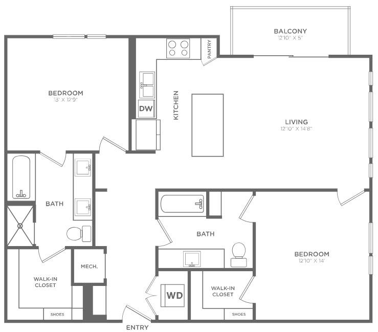 1,202 sq. ft. B1 floor plan