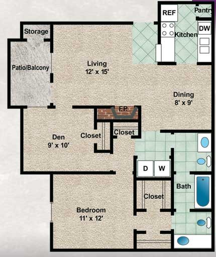 879 sq. ft. Laurel Oak floor plan