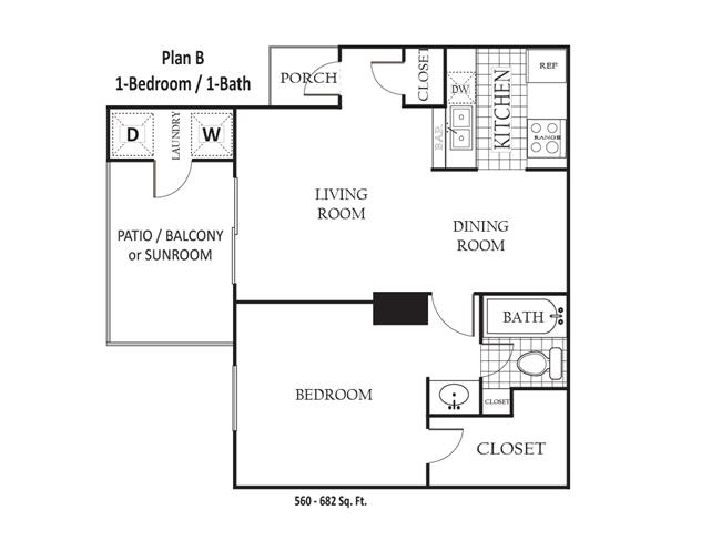 560 sq. ft. to 682 sq. ft. B floor plan