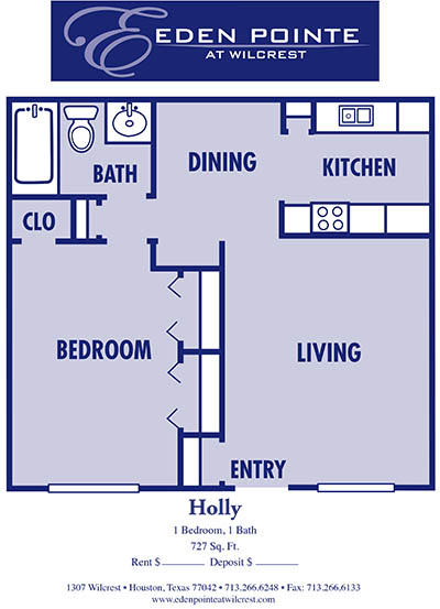 727 sq. ft. A3-Holly floor plan