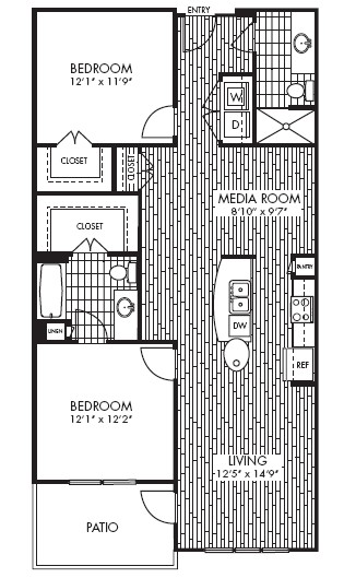 1,158 sq. ft. B3 floor plan