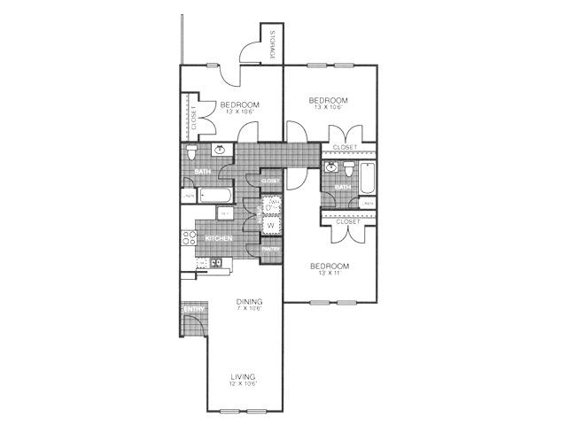 1,149 sq. ft. SC1/60% floor plan