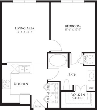692 sq. ft. 6A3 floor plan