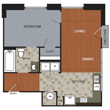 736 sq. ft. A6 floor plan