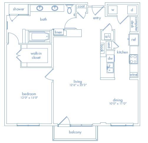1,167 sq. ft. Stella One floor plan